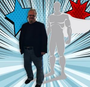 Marcus Padulchick with SuperHEro and burst background